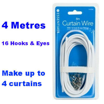 4 Metres White Window Net Curtain Wire Voiles Cord Cable With 16 Hooks & Eyes
