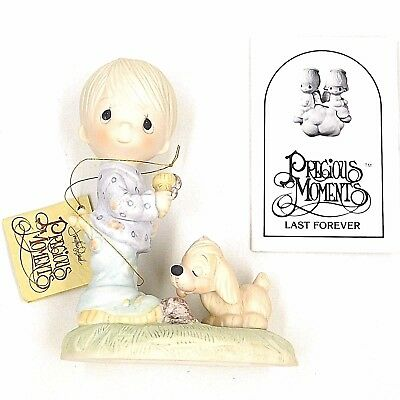 PRECIOUS MOMENTS NIB Boy with Dog HOURGLASS E-1374/B Praise the Lord Anyhow
