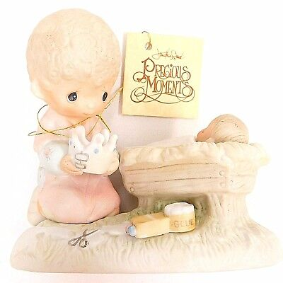 PRECIOUS MOMENTS NO MARK 1979 Christmas Manger CROWN HIM LORD OF ALL E-2803