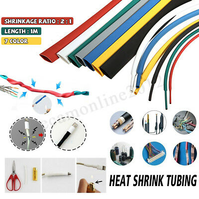 1M 8.0MM 2:1 Heat Shrink Wire Wrap Assortment Cable Sleeve Electrical Tubes