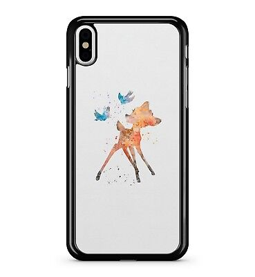 Water Painted Cute Orange Fox Animal Beautiful Blue Birds 2D Phone Case Cover