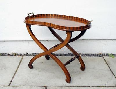 Edwardian Mahogany & marquetry drinks tray on  stand