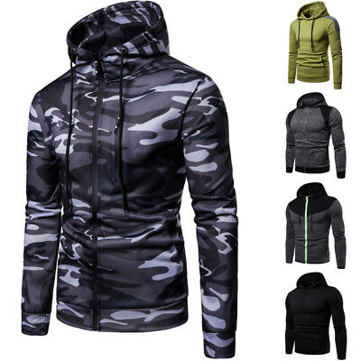 Mens Long Sleeve Hooded Hoodie Sport Running Zipper Tops Pullover Casual Jumper