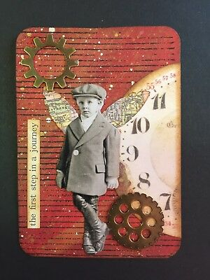 ACEO—Mixed Media Collage Art Card - Vintage Theme.