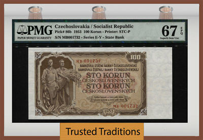 TT PK 86b 1953 CZECHOSLOVAKIA 100 KORUN PMG 67 EPQ SUPERB GEM POP TWO!