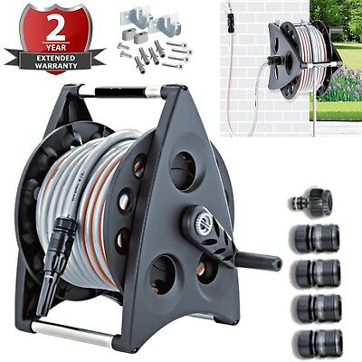 NEW 30M 90FT Outdoor Garden Hose Compact Reel WallMount include 6pc fittings Inc