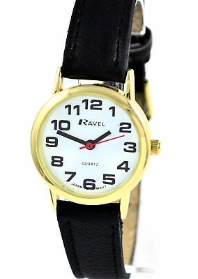 Ravel Womens Bold BIG NUMBERS Ladies Watch With Gold Casing Black Strap