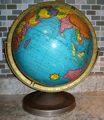 "VINTAGE GEORGE CRAM No.3 UNIVERSAL TERRESTRIAL GLOBE WORLD MAP 12"" NATURAL SCALE"