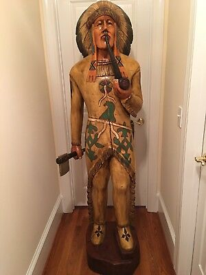 Carved Wooden Cigar Store Indian 6 ft.Tall Hatchet/Pipe Statue