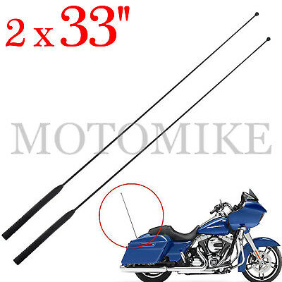 2x 33'' AM FM Antenna Radio Rubber For Harley Touring Road Street Electra Glide