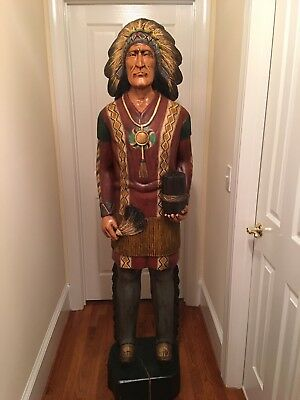 Carved Wooden Cigar Store Indian 6 ft.Tall Fan/Cigar Statue