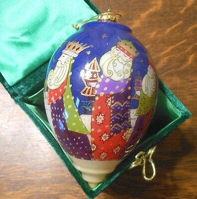 "6"" Teardrop Hand Painted Glass Ornament Li Bien Pier 1, Includes Box"