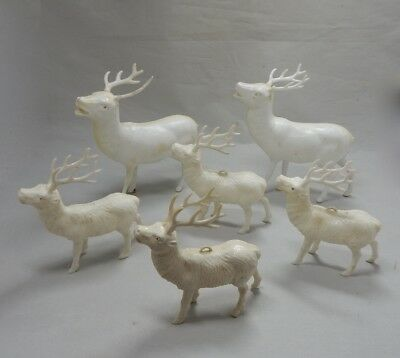 6 White Hard Plastic Vintage Deer Reindeer Christmas Ornament lot