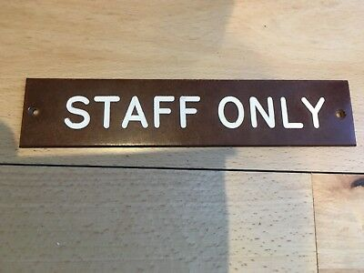 "Original Old 1940s Bakelite  Sign "" STAFF ONLY  """