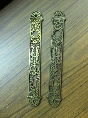 Vintage Lot of 2 Victorian Eastlake Key Hole Door Knob Back Plate Arts Crafts