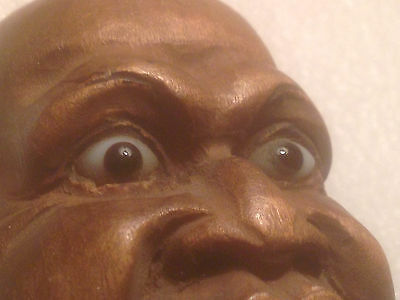 Rare Vintage/Antique Hand Carved Mans Head - Swiss Black Forest Style Glass Eyes