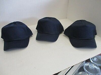 Lot Of 3 New-Vintage Navy Blue Caps/hats-5 Panel-W/rope-Snapback-George-[3071]