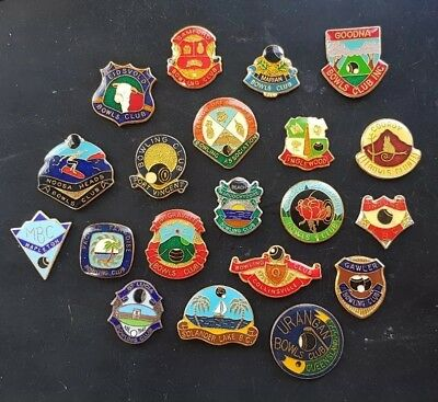 20x QLD BOWLING CLUB BADGES *CLASPS REMOVED**