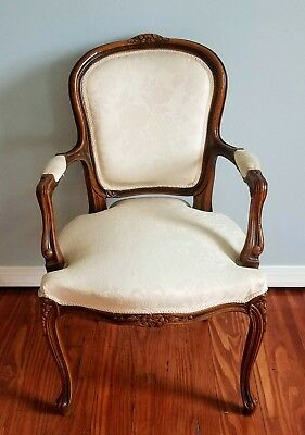 Vintage Hand Carved Fruit Victorian Style Wood Parlor Chair White