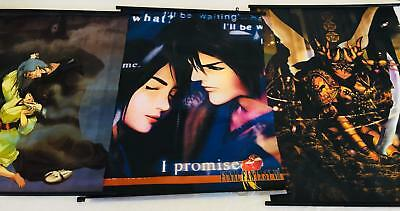 """Lot 3 Anime Final Fantasy VII Wall Scrolls Cloth Silk Posters Movie """"I Promise"""""""