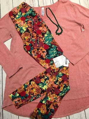717446cd0fd3db LULAROE OUTFIT SMALL Solid Navy Lynnae & OS Floral Flowers Roses ...