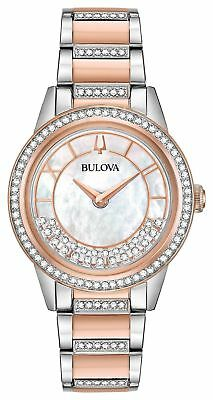New Bulova Women's White Mother of Pearl Dial Crystals TurnStyle Watch 98L246