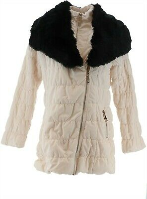 Dennis Basso Ruched Jacket Detachable Faux Fur Collar Warm Ivory XL NEW A285576