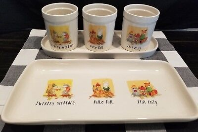 Rae Dunn FALL Hello Fall / Sweater Weather / Stay Cozy Utensil/Platter SET
