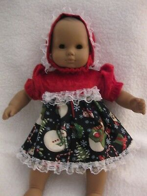 Handmade Bitty Baby doll clothes/Snowman Christmas dress/lace trims