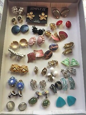 Vintage Mixed Lot of 30 pair Costume Clip On & Screw Back Earrings, none broken!