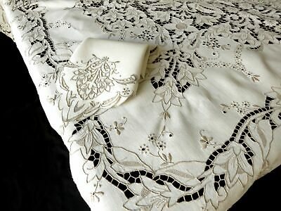 Elaborate Antique Madeira Embroidery Linen Tablecloth 12 Napkins 70x104""