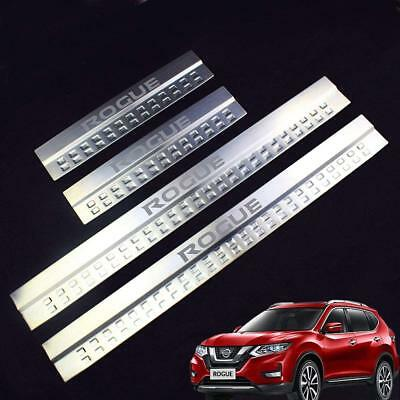 OWNSUN 4PCS Car Stainless Steel door Sill Scuff Plate for Nissan ROGUE 2014-2018