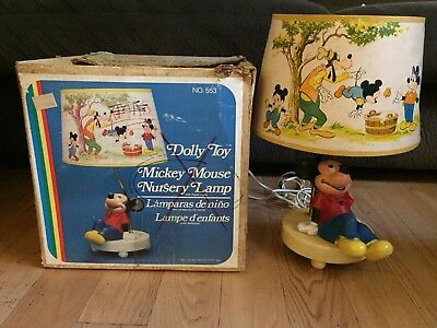 1981 Dolly Toy Mickey Mouse Nursery Lamp with Box - Working