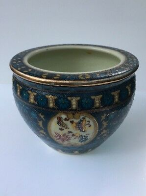 """Asian fishbowl planter butterfly scene 5"""" wide 4"""" tall porcelain Blue and Gold"""