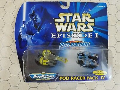 Star Wars Episode I Micro Machines Pod Racer Pack IV New