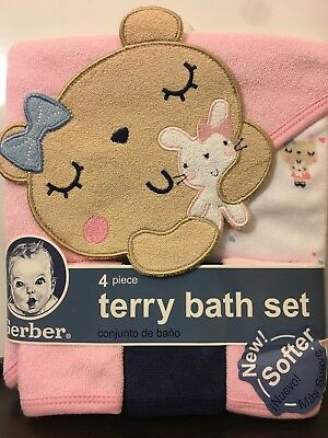 NEW WITH TAGS - Gerber Baby 4 Piece Terry Bath Set - Pink Cat