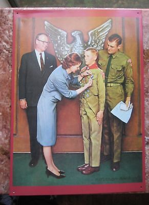 Eagle Scout Pinning Ceremony Norman Rockwell Boy Scouts Wall Tin Sign Art Gift