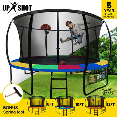 【EXTRA 10%OFF】UPSHOT 8/10/12FT Round Trampoline Safety Net Pad Ladder Spring