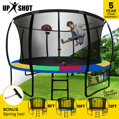 UPSHOT 8/10/12/14/16FT Round Trampoline Safety Net Pad Ladder Spring