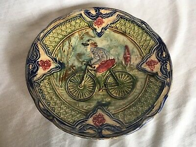 Antique Continental Majolica Man on Bicycle Plate 19th Century Pottery