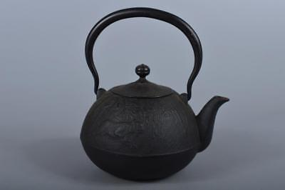 R5059: Japanese Iron Bamboo Tiger sculpture TEA KETTLE Teapot Tetsubin
