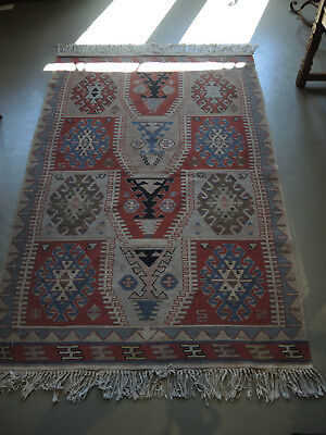 Vintage Turkish Kilim Tribal / Nomad Carpet Rug 100% Wool Flat Weave 158 x 101cm