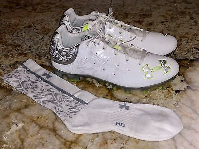 UNDER ARMOUR Banshee LAX Low Molded Lacrosse Cleats White Silver NEW Mens Yout 7