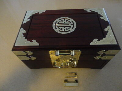 Vintage Two Drawer Chinese Jewellery Box with Bat & Good Luck Symbols Design