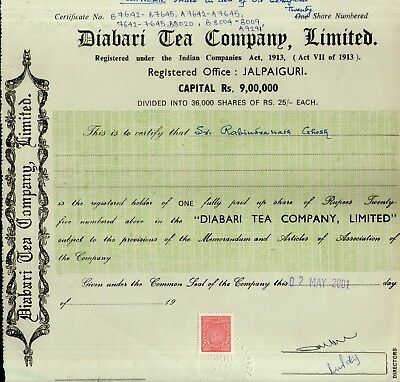 India 2001's Diabari Tea Company Ltd. Share Certificate + Revenue Stamp # FB14
