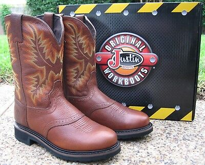c1a0ad7e231 NEW MENS JUSTIN Tan All Leather Stampede Western Cowboy Work Boots Style  WK4655