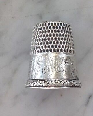 Vintage SIMONS BROTHERS Sterling Silver Thimble Size 10 Landscape House Engraved
