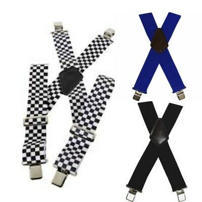 BikeIt Heavy Duty Elasticated Braces Motorcycle Motorbike Black Blue Check gift