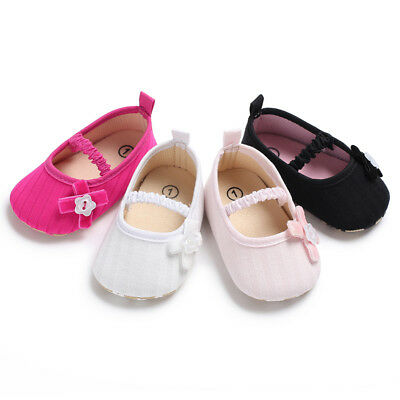 Girls Bowknot Princess Anti-Slip Crib Shoes Toddler Baby Soft Soled Sneakers