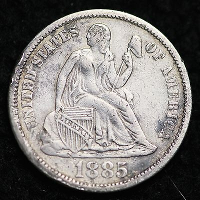 1885 Seated Liberty Dime CHOICE XF FREE SHIPPING E242 CN